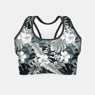 Thumbnail image of TROPICAL VACATION PRINT IN GREY Crop Top, Live Heroes