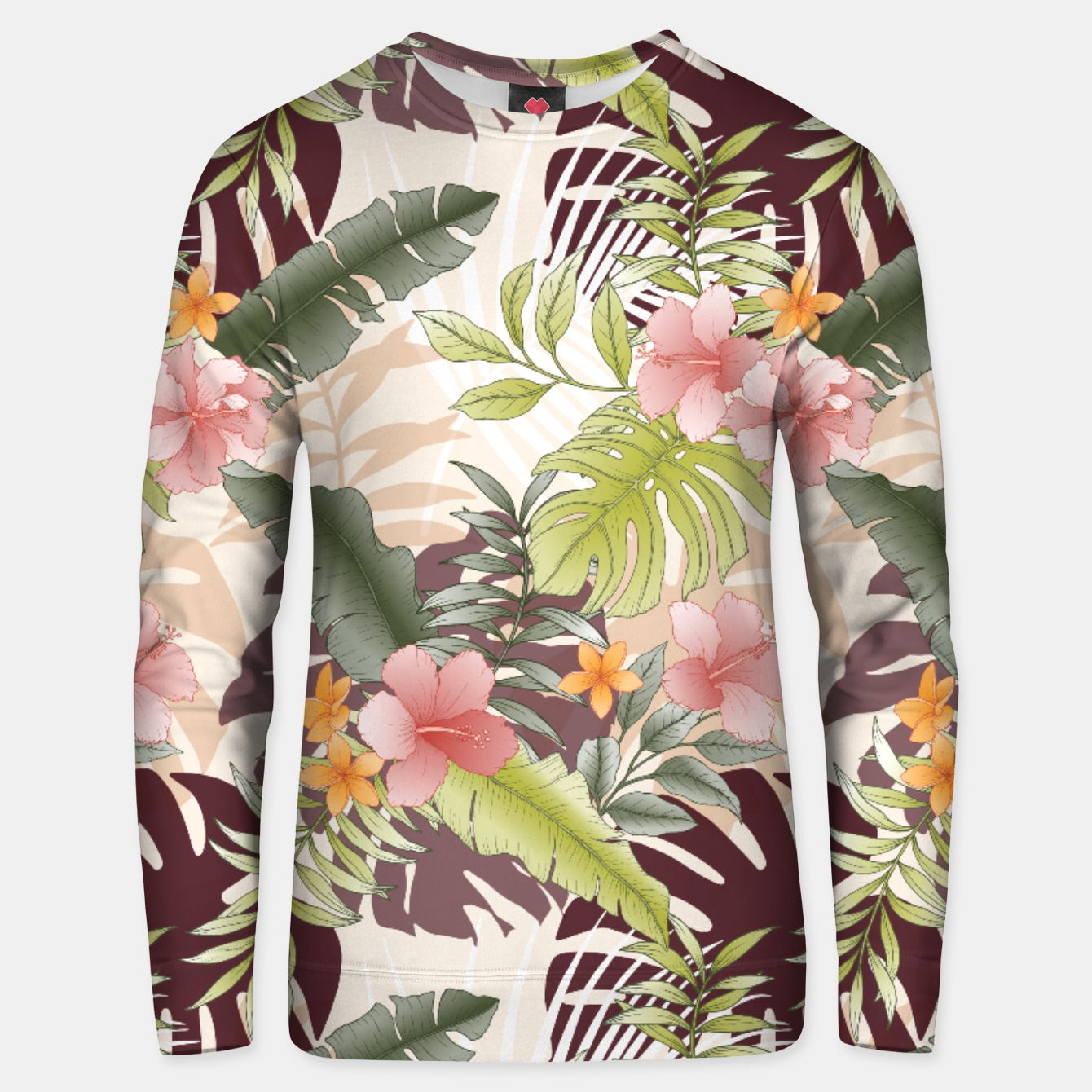 Image of TROPICAL VACATION PRINT IN PINK & GREEN Unisex sweater - Live Heroes