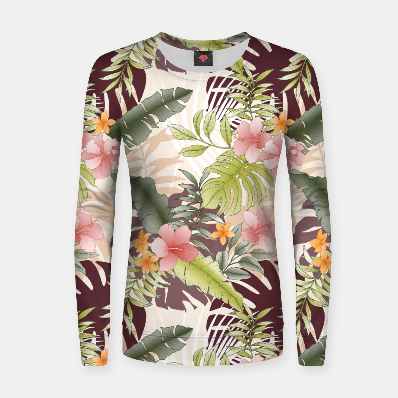 Image of TROPICAL VACATION PRINT IN PINK & GREEN Women sweater - Live Heroes