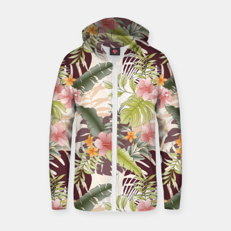 TROPICAL VACATION PRINT IN PINK & GREEN Zip up hoodie thumbnail image