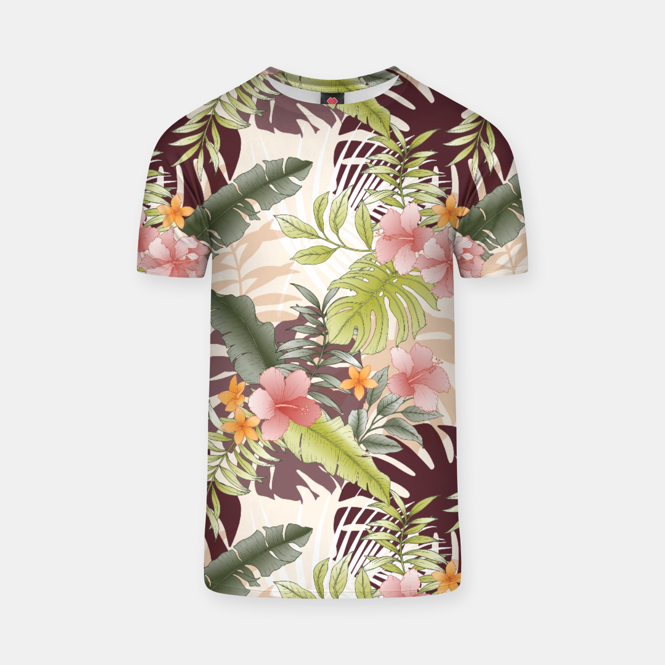 Image of TROPICAL VACATION PRINT IN PINK & GREEN T-shirt - Live Heroes