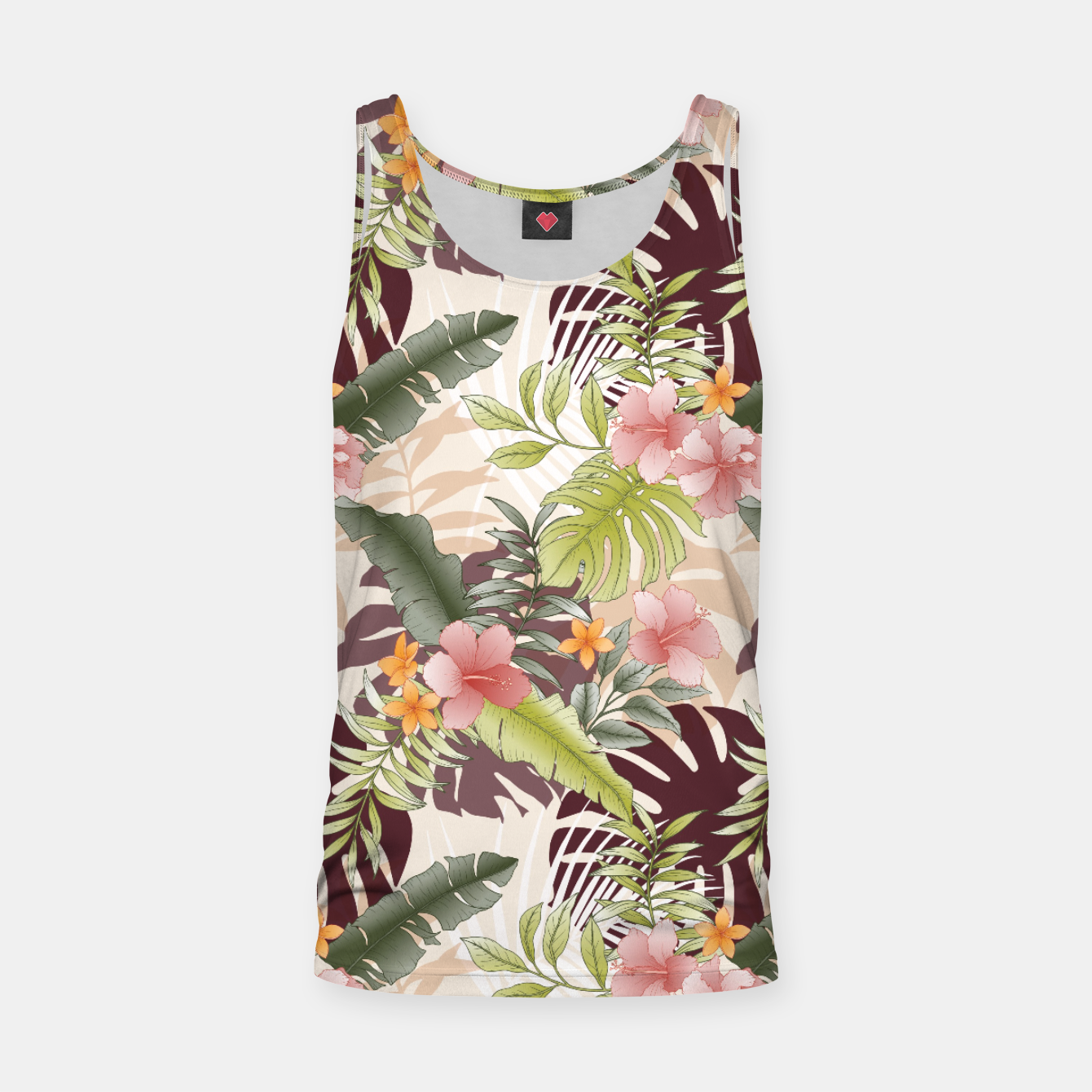 Image of TROPICAL VACATION PRINT IN PINK & GREEN Tank Top - Live Heroes