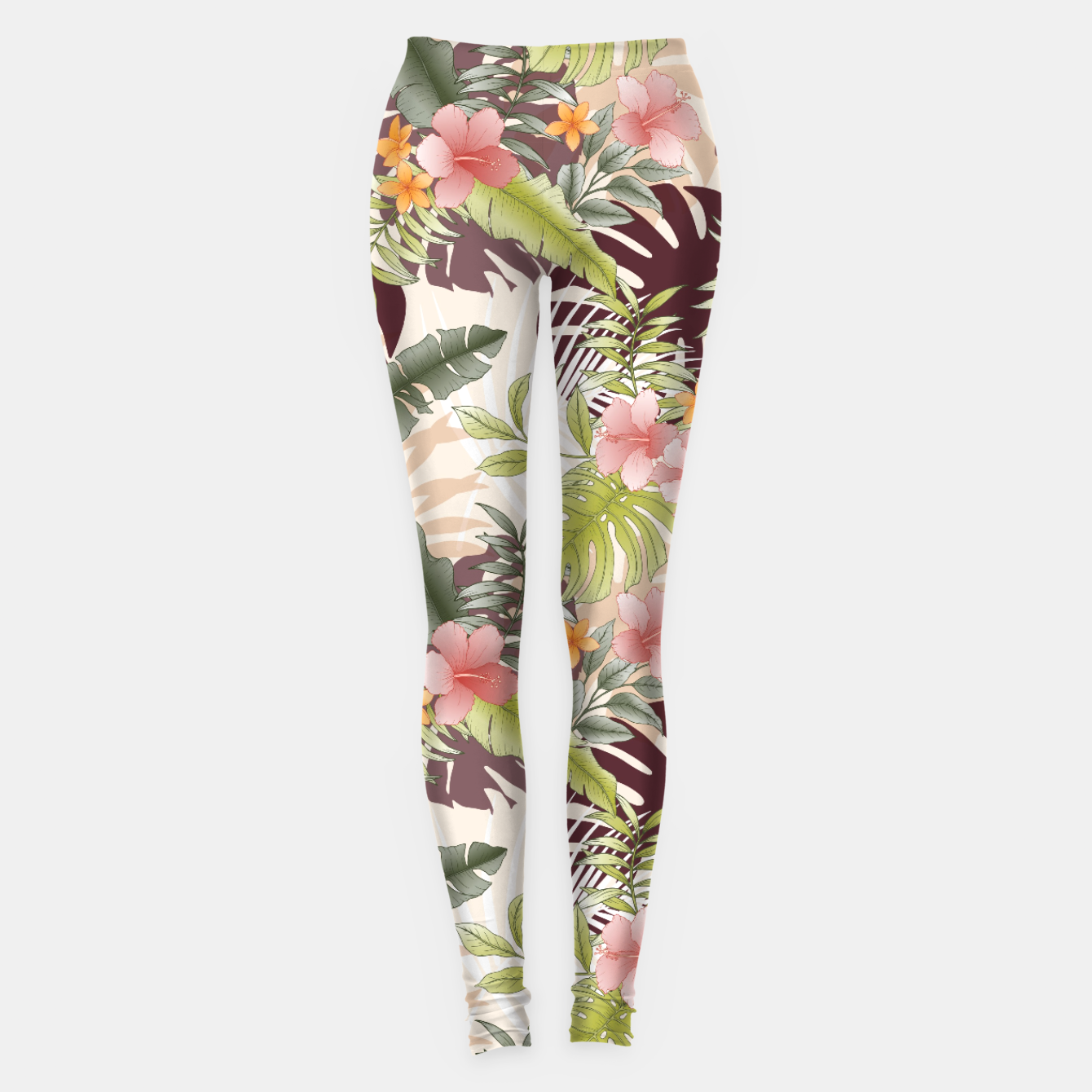 Image of TROPICAL VACATION PRINT IN PINK & GREEN Leggings - Live Heroes