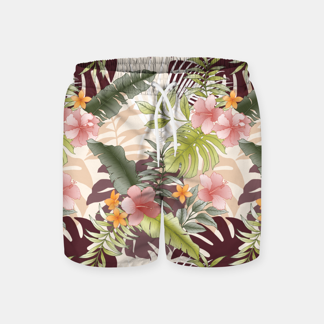 Image of TROPICAL VACATION PRINT IN PINK & GREEN Swim Shorts - Live Heroes