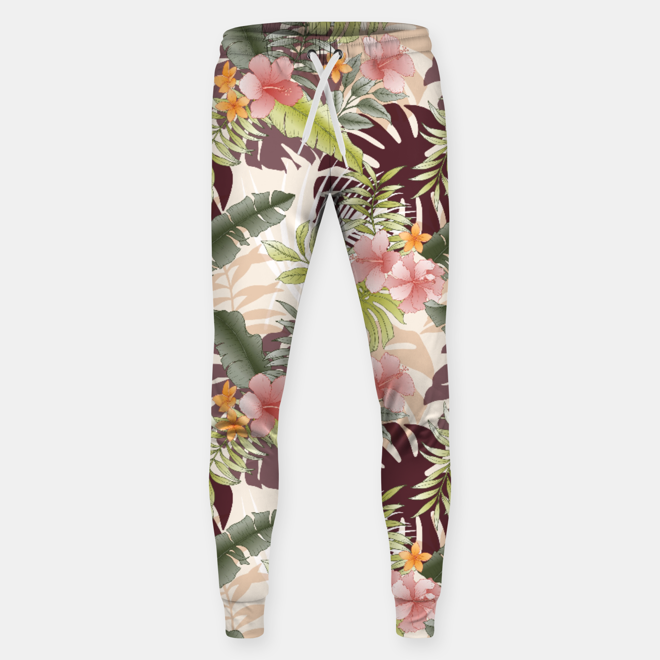 Image of TROPICAL VACATION PRINT IN PINK & GREEN Sweatpants - Live Heroes