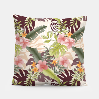 TROPICAL VACATION PRINT IN PINK & GREEN Pillow thumbnail image