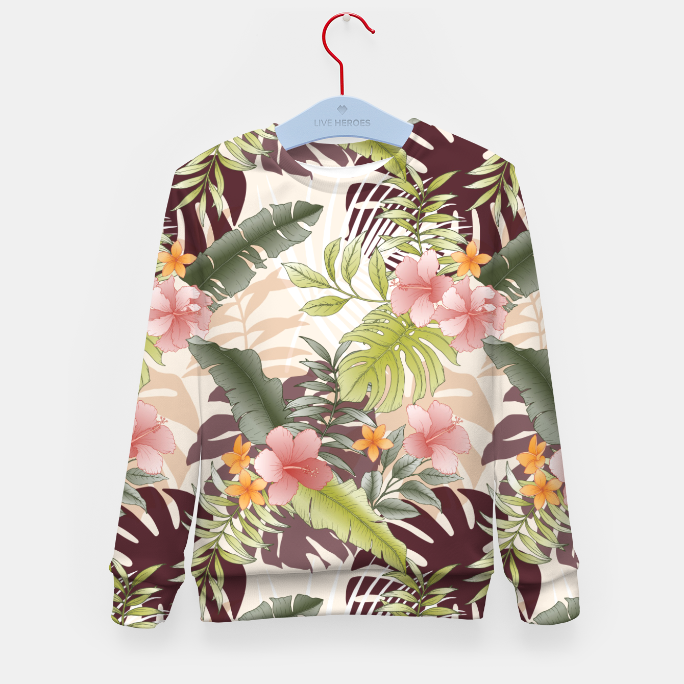 Image of TROPICAL VACATION PRINT IN PINK & GREEN Kid's sweater - Live Heroes