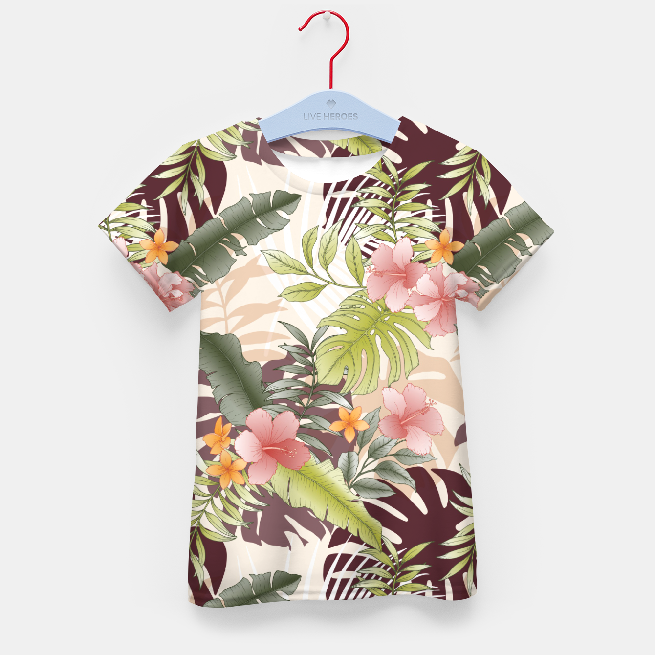 Image of TROPICAL VACATION PRINT IN PINK & GREEN Kid's t-shirt - Live Heroes