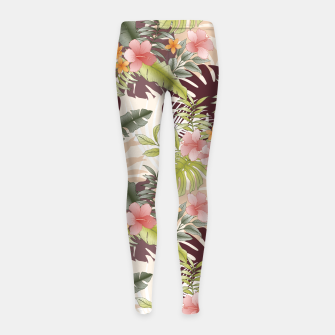 Thumbnail image of TROPICAL VACATION PRINT IN PINK & GREEN Girl's leggings, Live Heroes