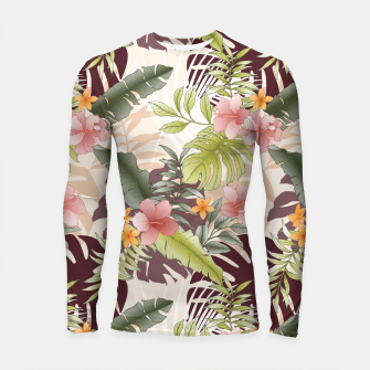 TROPICAL VACATION PRINT IN PINK & GREEN Longsleeve rashguard  thumbnail image
