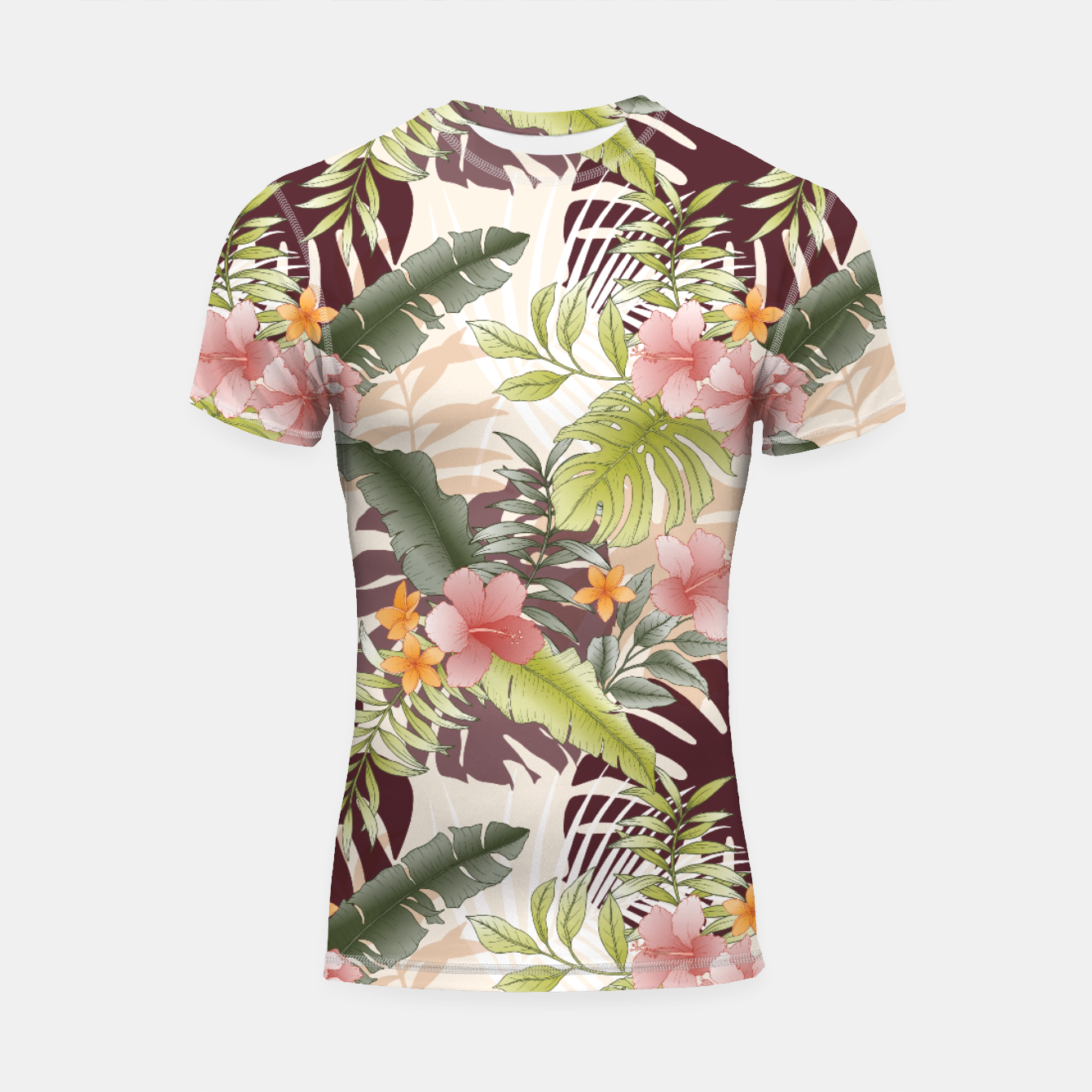 Image of TROPICAL VACATION PRINT IN PINK & GREEN Shortsleeve rashguard - Live Heroes