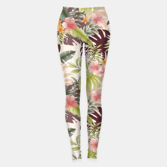 Thumbnail image of TROPICAL VACATION PRINT IN PINK & GREEN Leggings, Live Heroes
