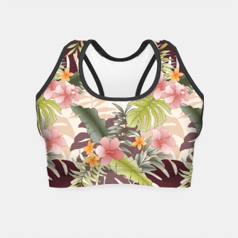 TROPICAL VACATION PRINT IN PINK & GREEN Crop Top thumbnail image