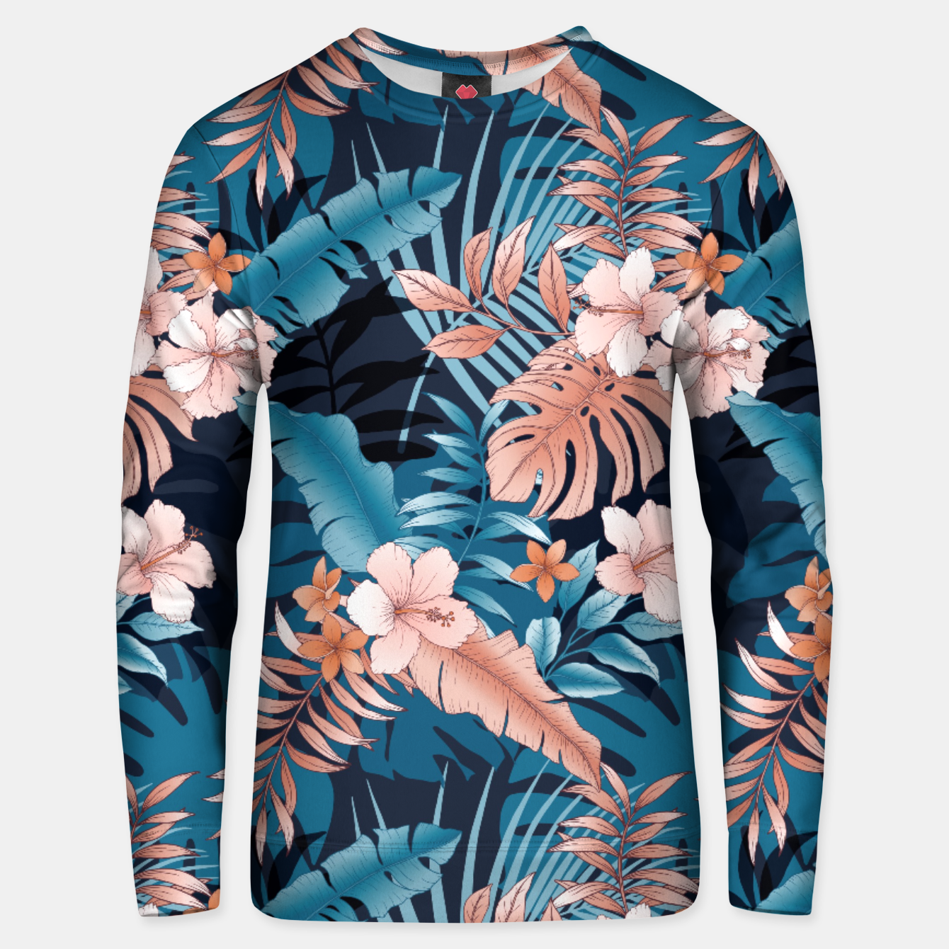 Image of TROPICAL VACATION PRINT IN NAVY Unisex sweater - Live Heroes