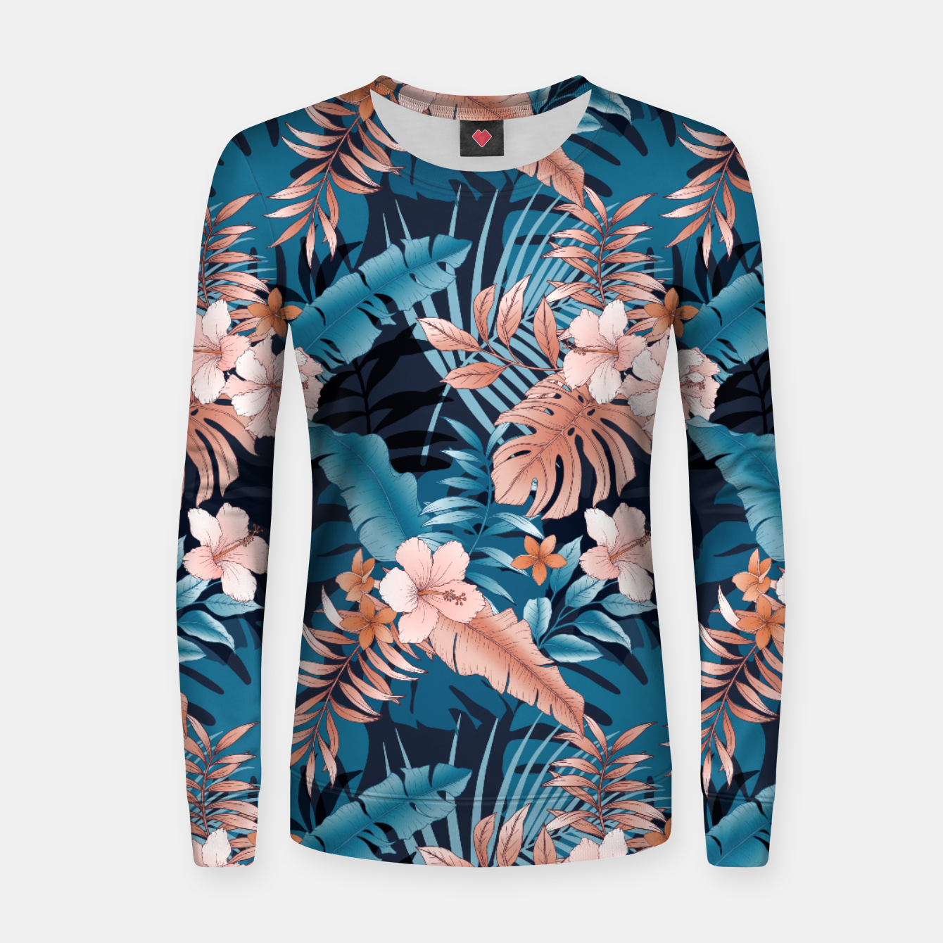 Image of TROPICAL VACATION PRINT IN NAVY Women sweater - Live Heroes