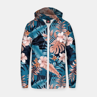 Thumbnail image of TROPICAL VACATION PRINT IN NAVY Zip up hoodie, Live Heroes