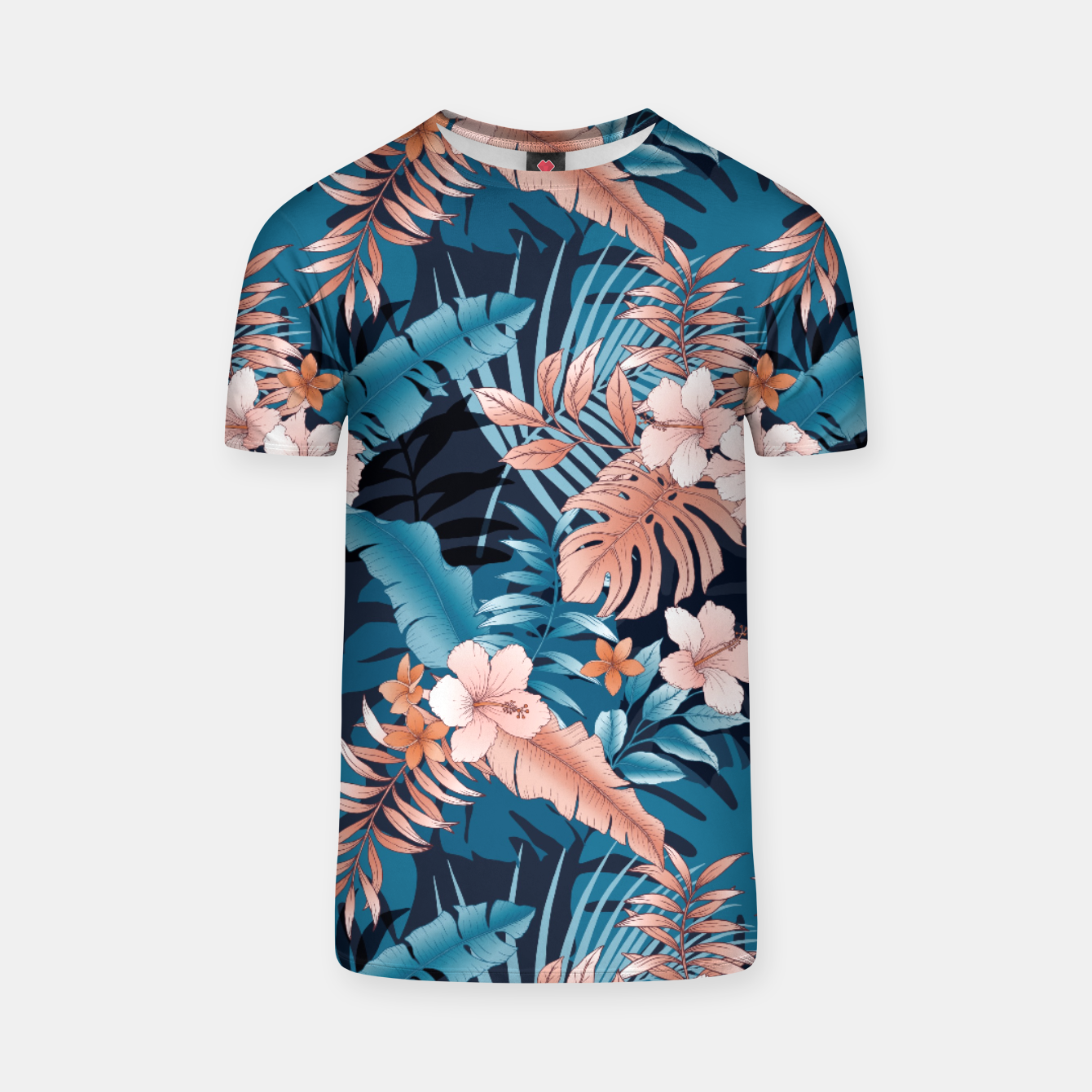 Image of TROPICAL VACATION PRINT IN NAVY T-shirt - Live Heroes