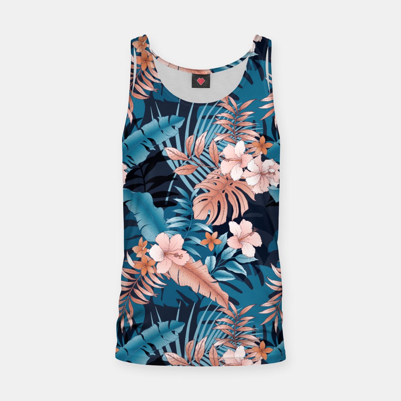 Image of TROPICAL VACATION PRINT IN NAVY Tank Top - Live Heroes