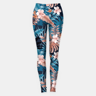 Thumbnail image of TROPICAL VACATION PRINT IN NAVY Leggings, Live Heroes