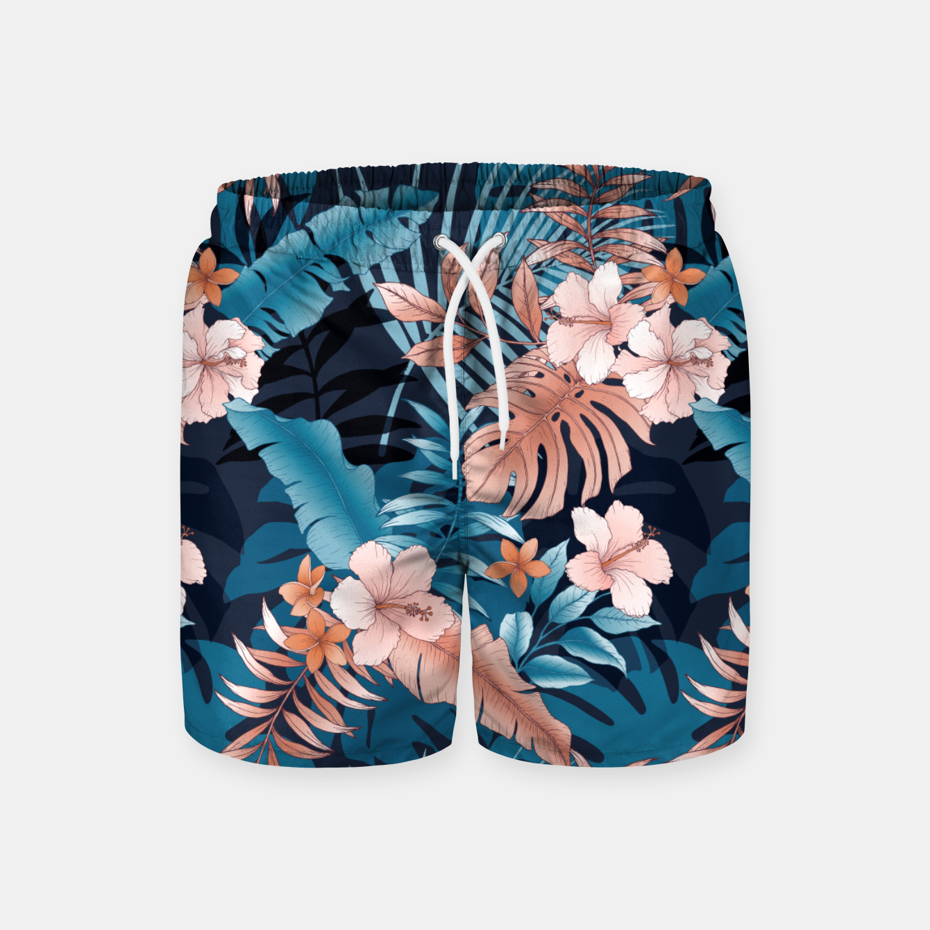 Image of TROPICAL VACATION PRINT IN NAVY Swim Shorts - Live Heroes