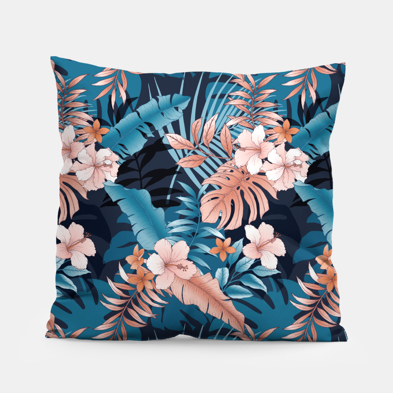 Image of TROPICAL VACATION PRINT IN NAVY Pillow - Live Heroes