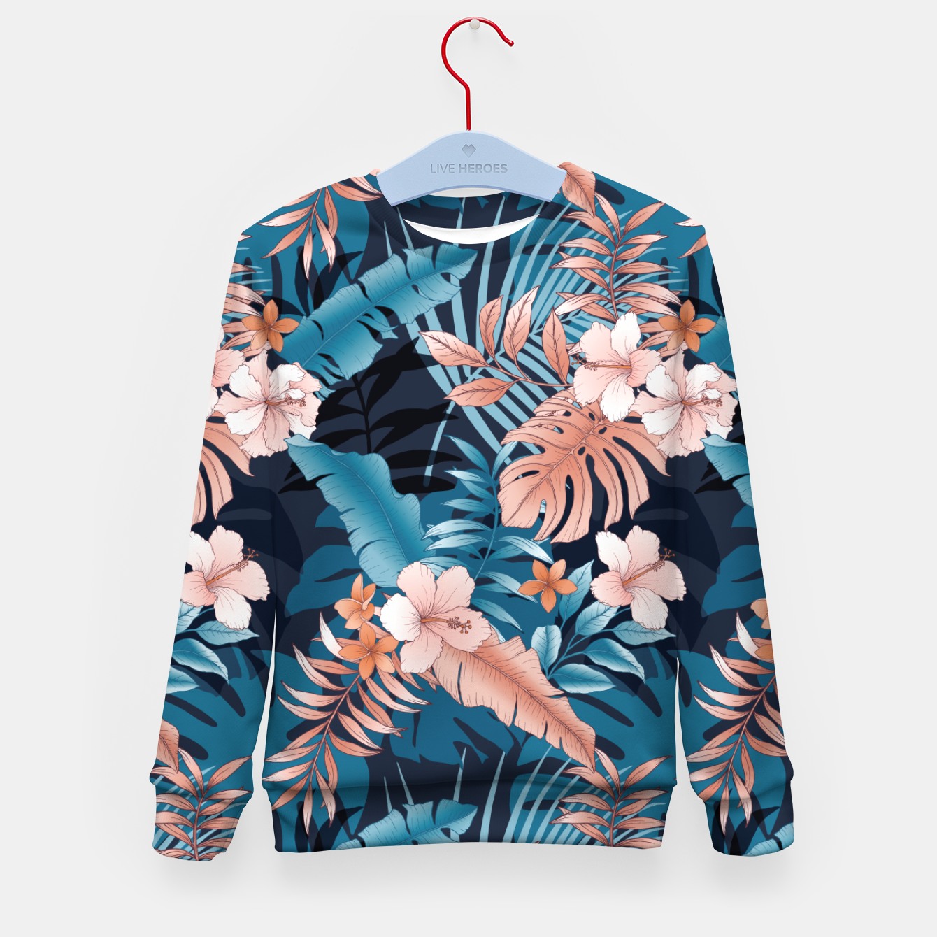 Image of TROPICAL VACATION PRINT IN NAVY Kid's sweater - Live Heroes