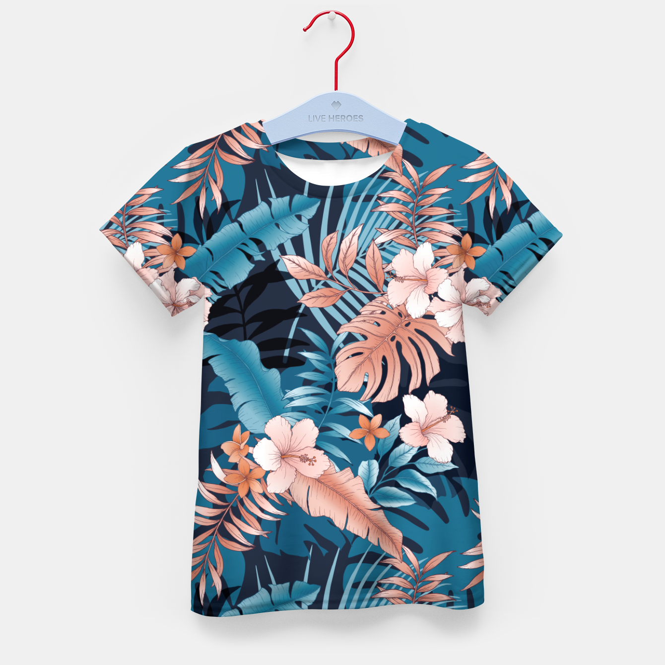 Image of TROPICAL VACATION PRINT IN NAVY Kid's t-shirt - Live Heroes