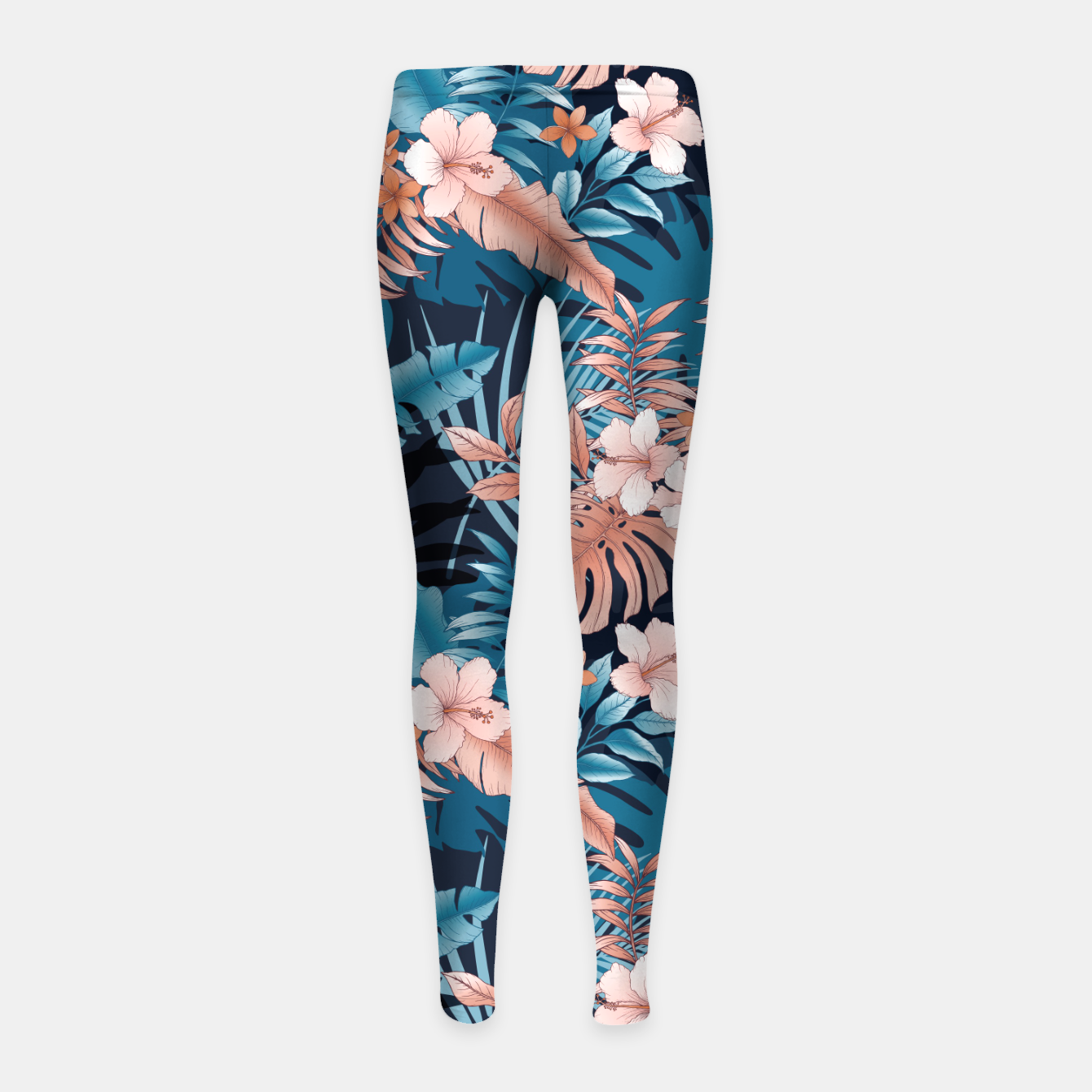 Image of TROPICAL VACATION PRINT IN NAVY Girl's leggings - Live Heroes