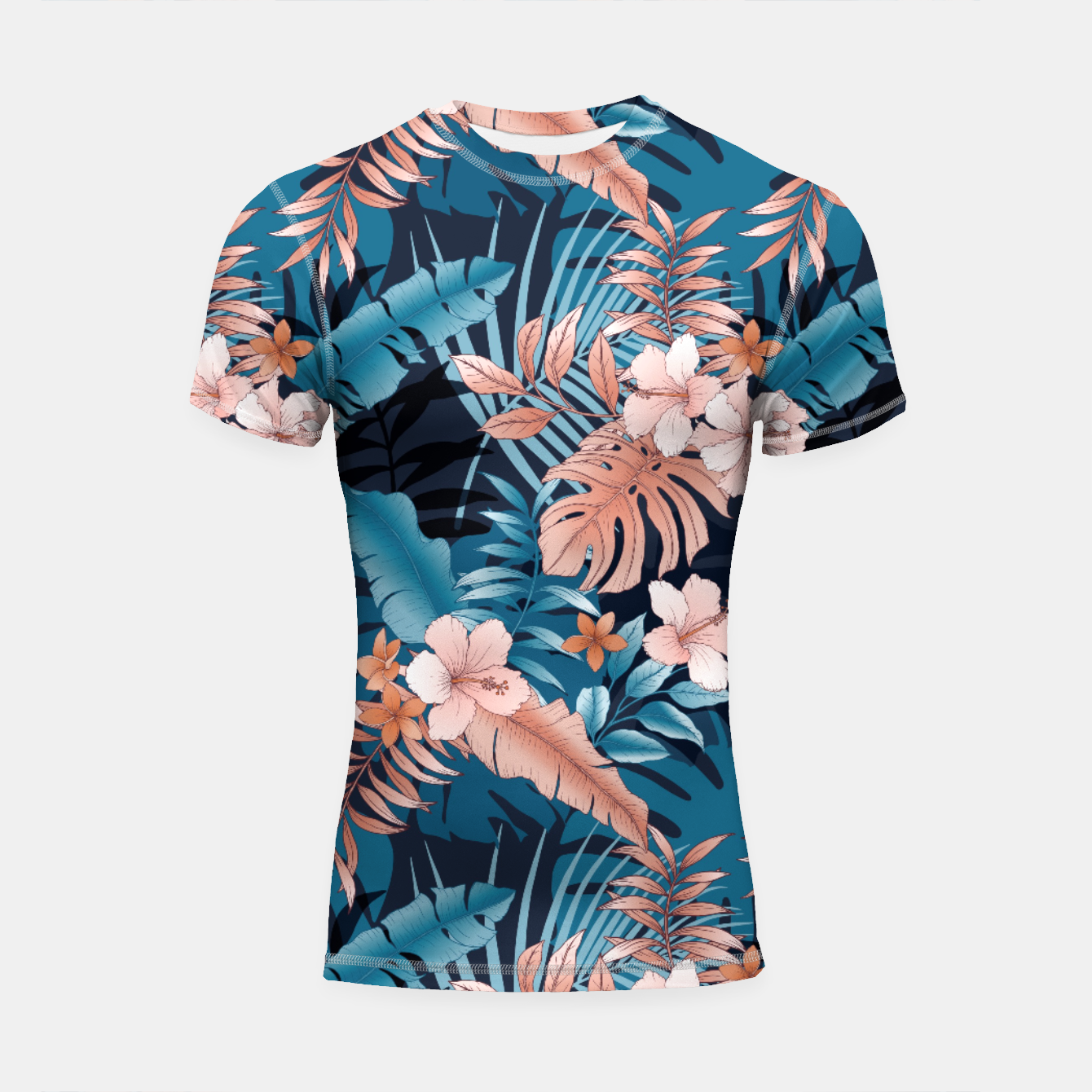 Image of TROPICAL VACATION PRINT IN NAVY Shortsleeve rashguard - Live Heroes