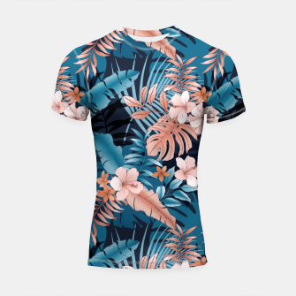 Thumbnail image of TROPICAL VACATION PRINT IN NAVY Shortsleeve rashguard, Live Heroes