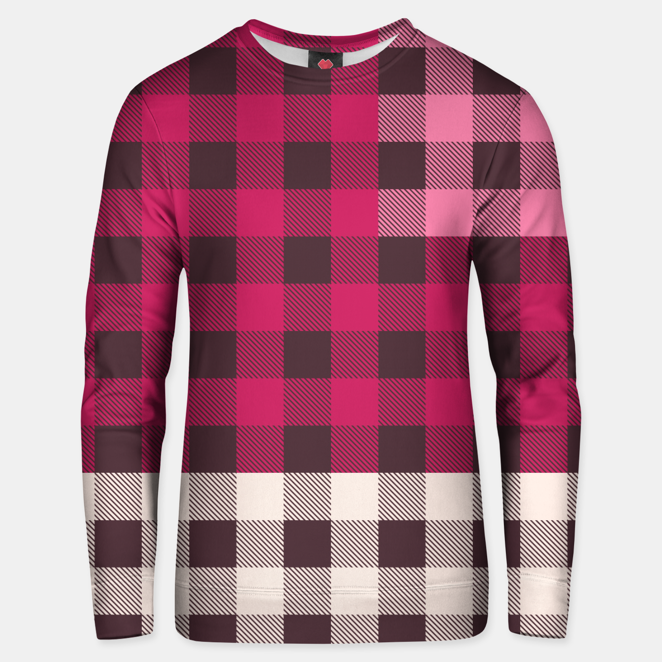 Image of PATCHWORK BUFFALO CHECK IN PINK Unisex sweater - Live Heroes