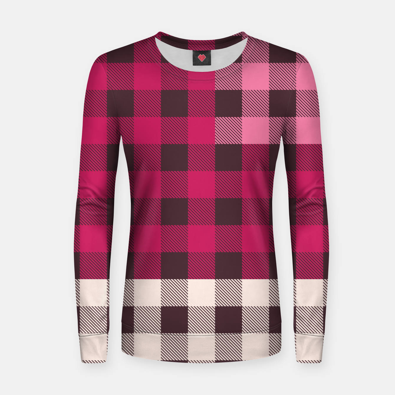 Image of PATCHWORK BUFFALO CHECK IN PINK Women sweater - Live Heroes