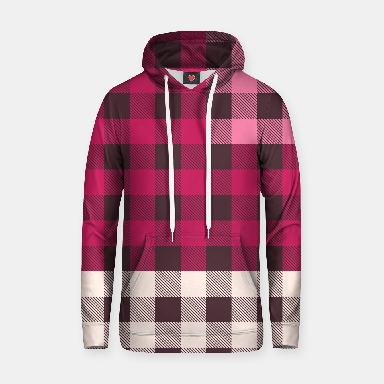 Image of PATCHWORK BUFFALO CHECK IN PINK Hoodie - Live Heroes