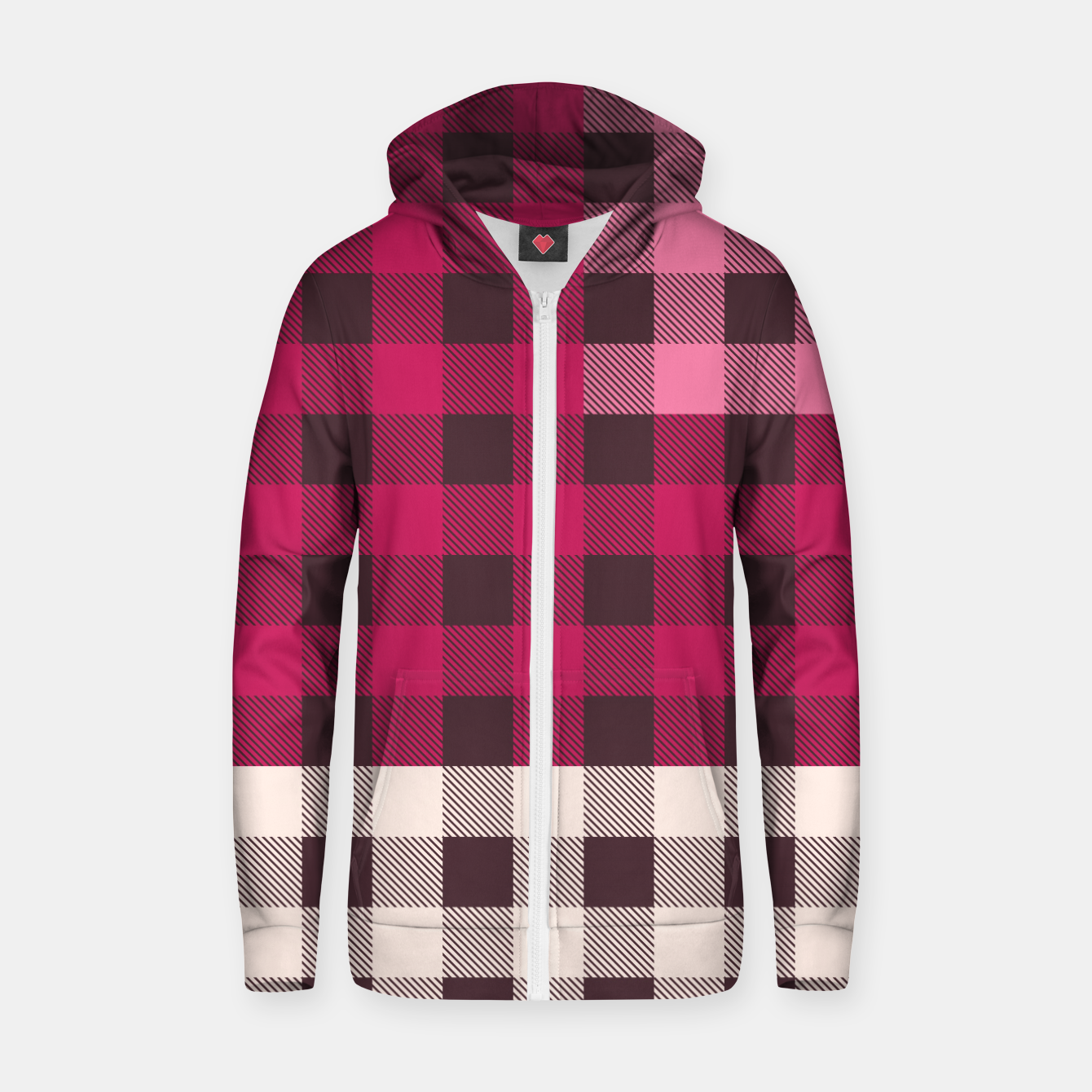 Image of PATCHWORK BUFFALO CHECK IN PINK Zip up hoodie - Live Heroes