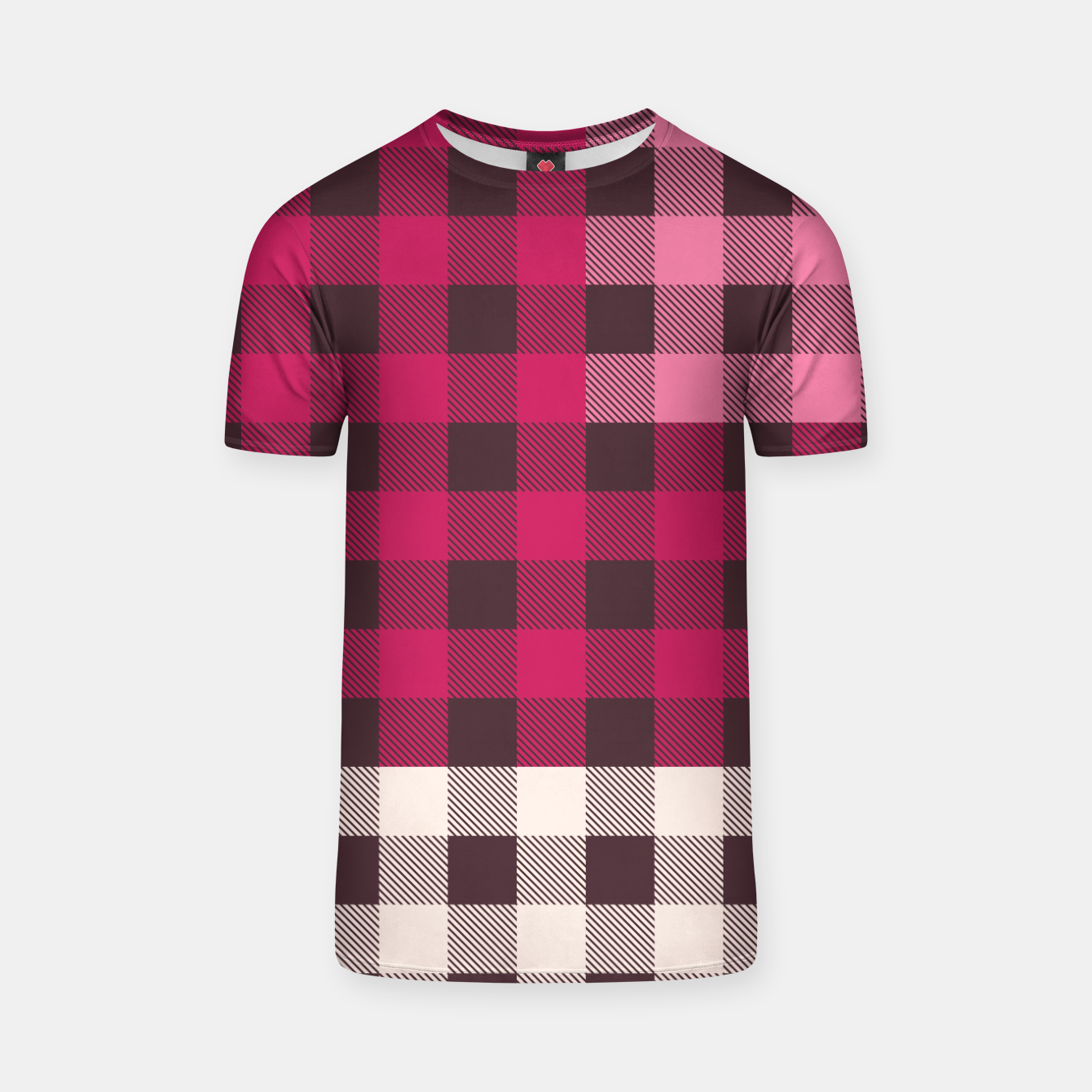 Image of PATCHWORK BUFFALO CHECK IN PINK T-shirt - Live Heroes