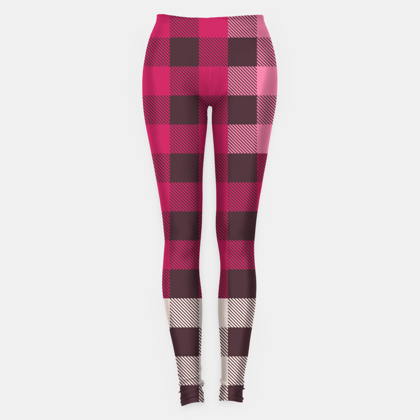 Image of PATCHWORK BUFFALO CHECK IN PINK Leggings - Live Heroes