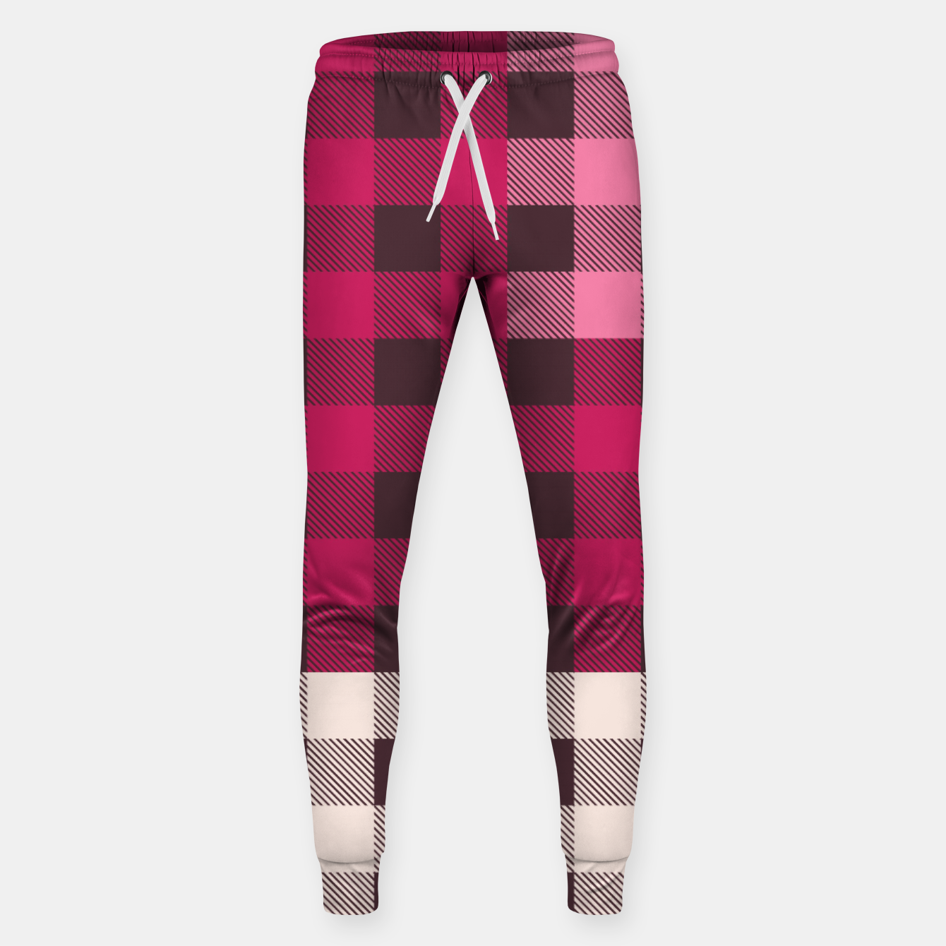 Image of PATCHWORK BUFFALO CHECK IN PINK Sweatpants - Live Heroes