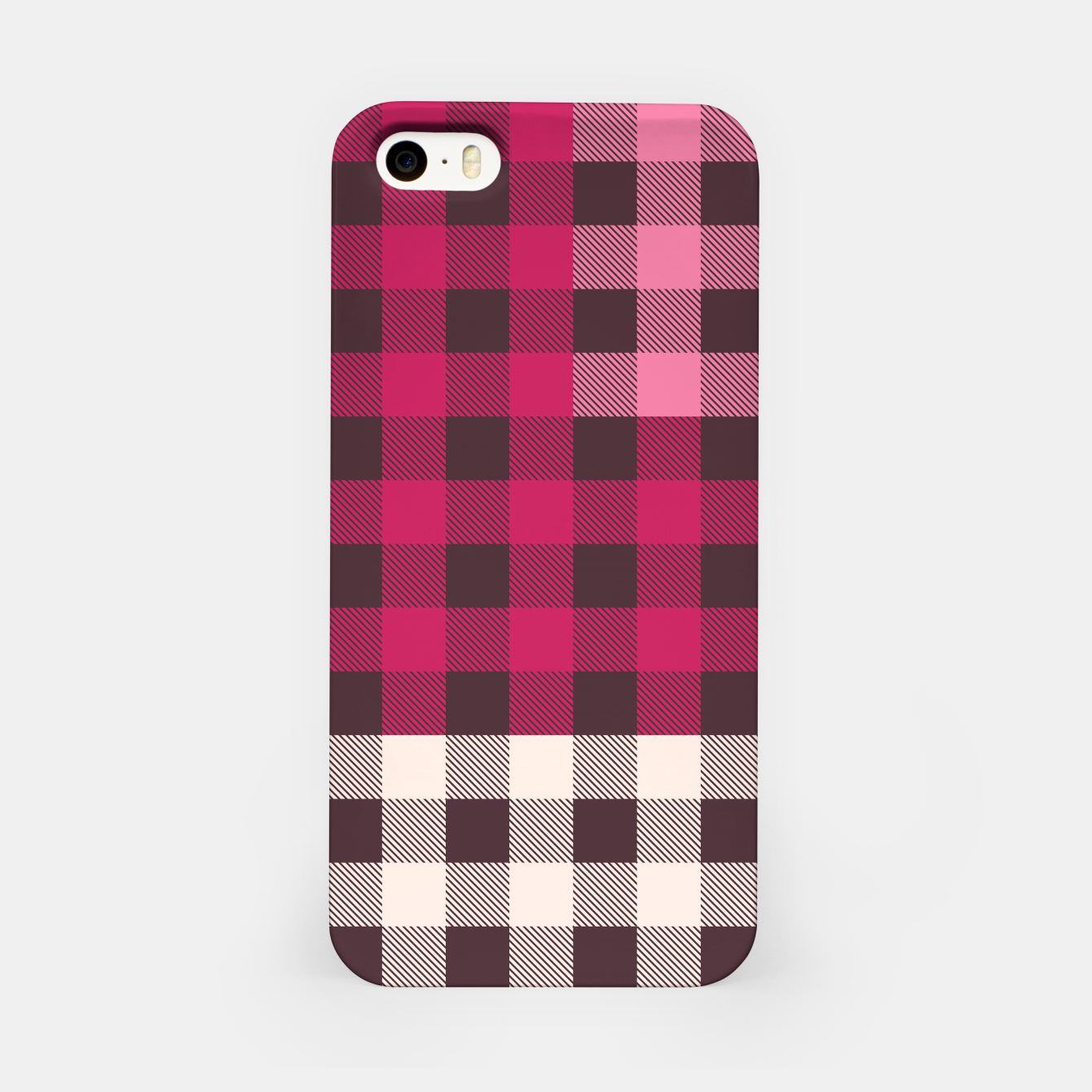 Image of PATCHWORK BUFFALO CHECK IN PINK iPhone Case - Live Heroes