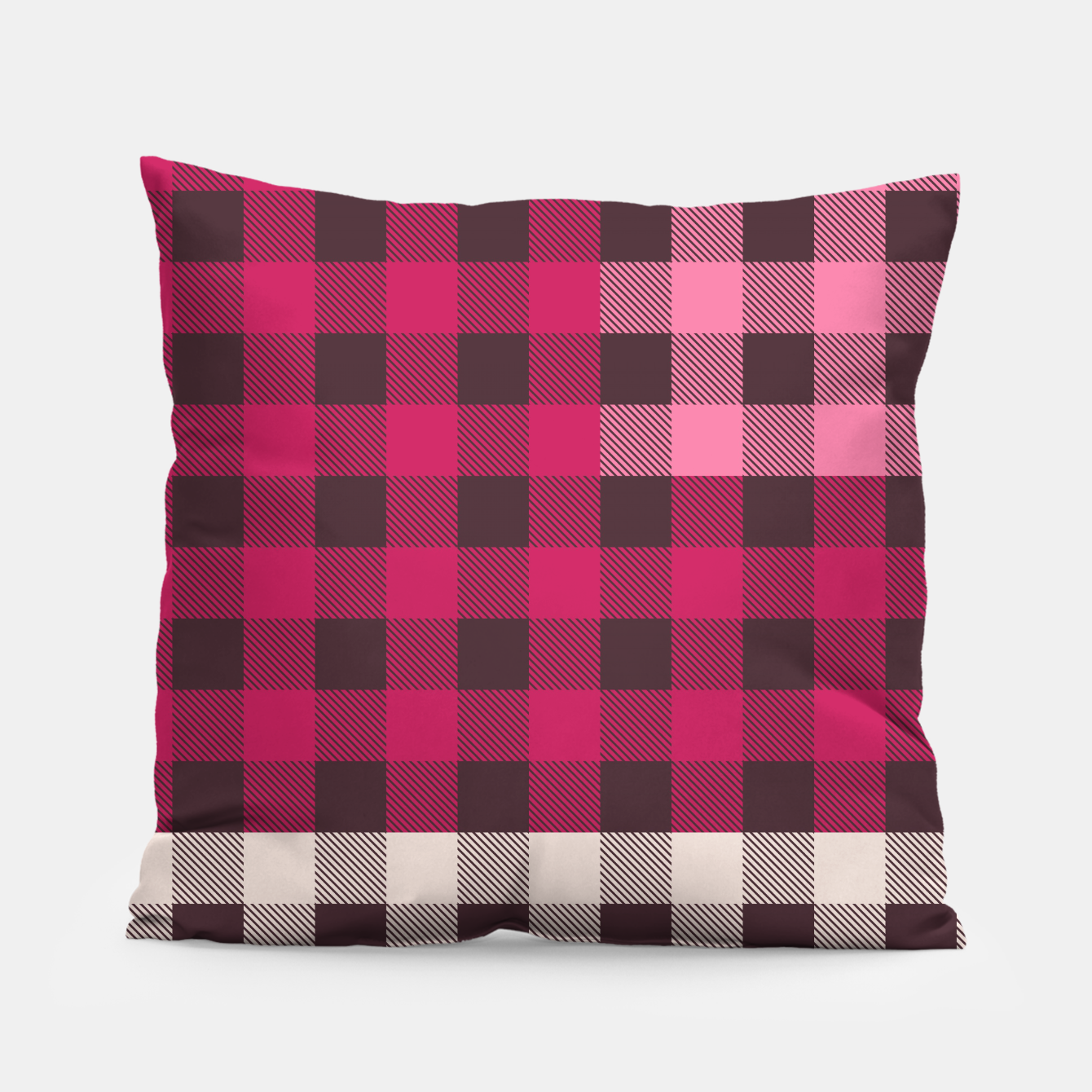 Image of PATCHWORK BUFFALO CHECK IN PINK Pillow - Live Heroes