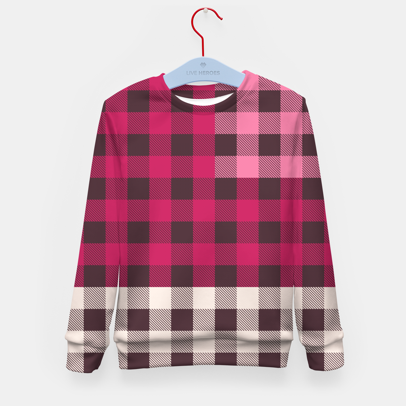 Image of PATCHWORK BUFFALO CHECK IN PINK Kid's sweater - Live Heroes