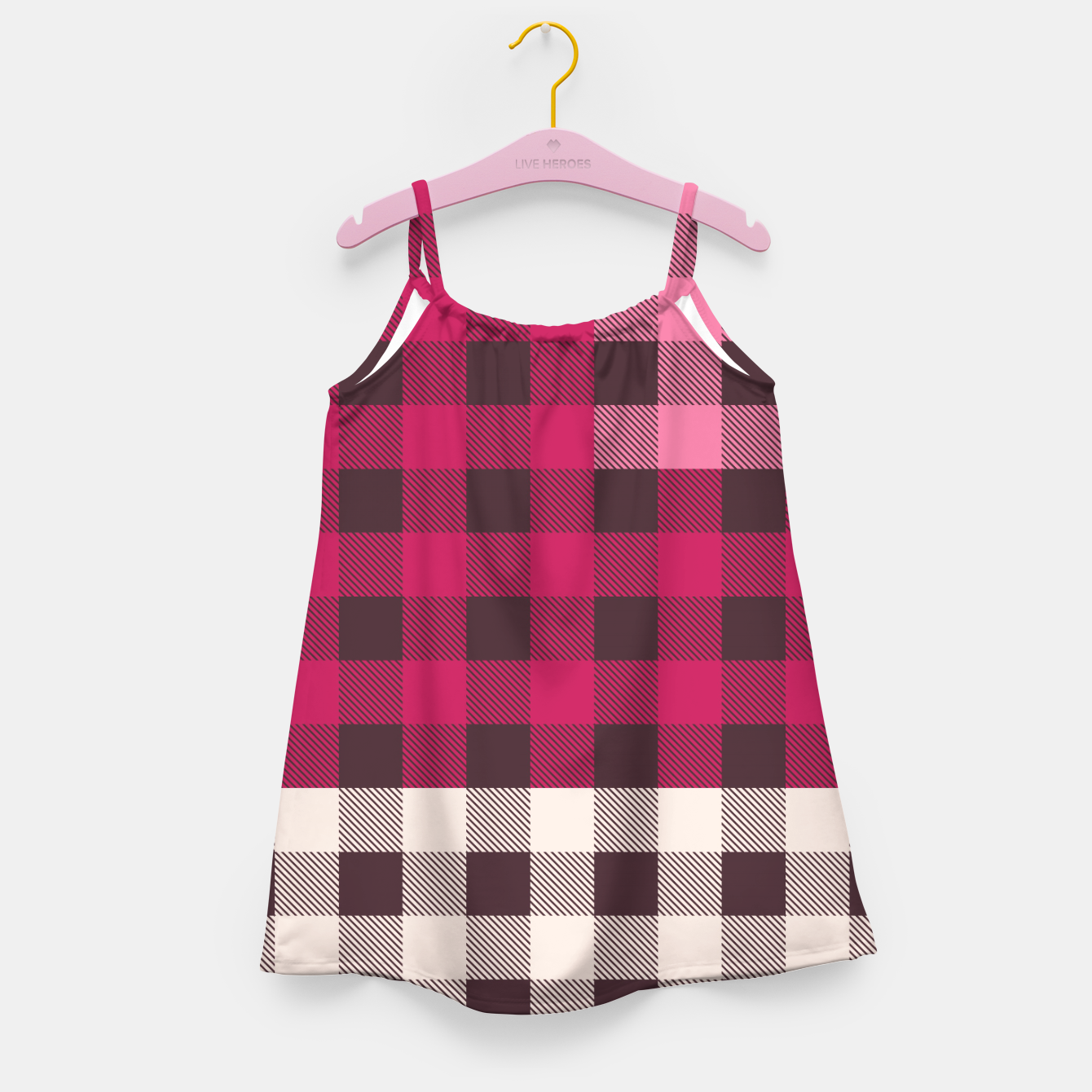 Image of PATCHWORK BUFFALO CHECK IN PINK Girl's dress - Live Heroes