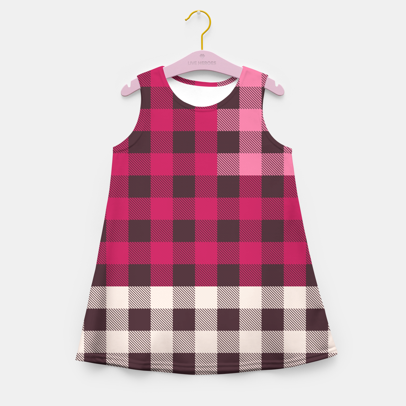 Image of PATCHWORK BUFFALO CHECK IN PINK Girl's summer dress - Live Heroes