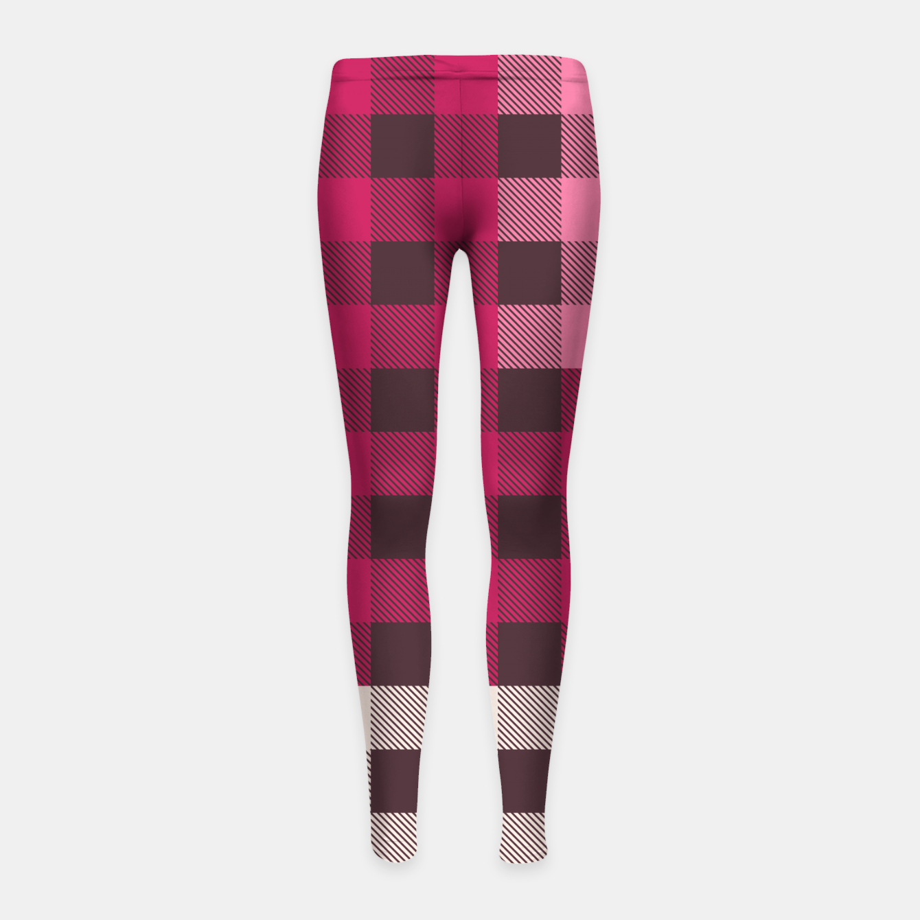 Image of PATCHWORK BUFFALO CHECK IN PINK Girl's leggings - Live Heroes