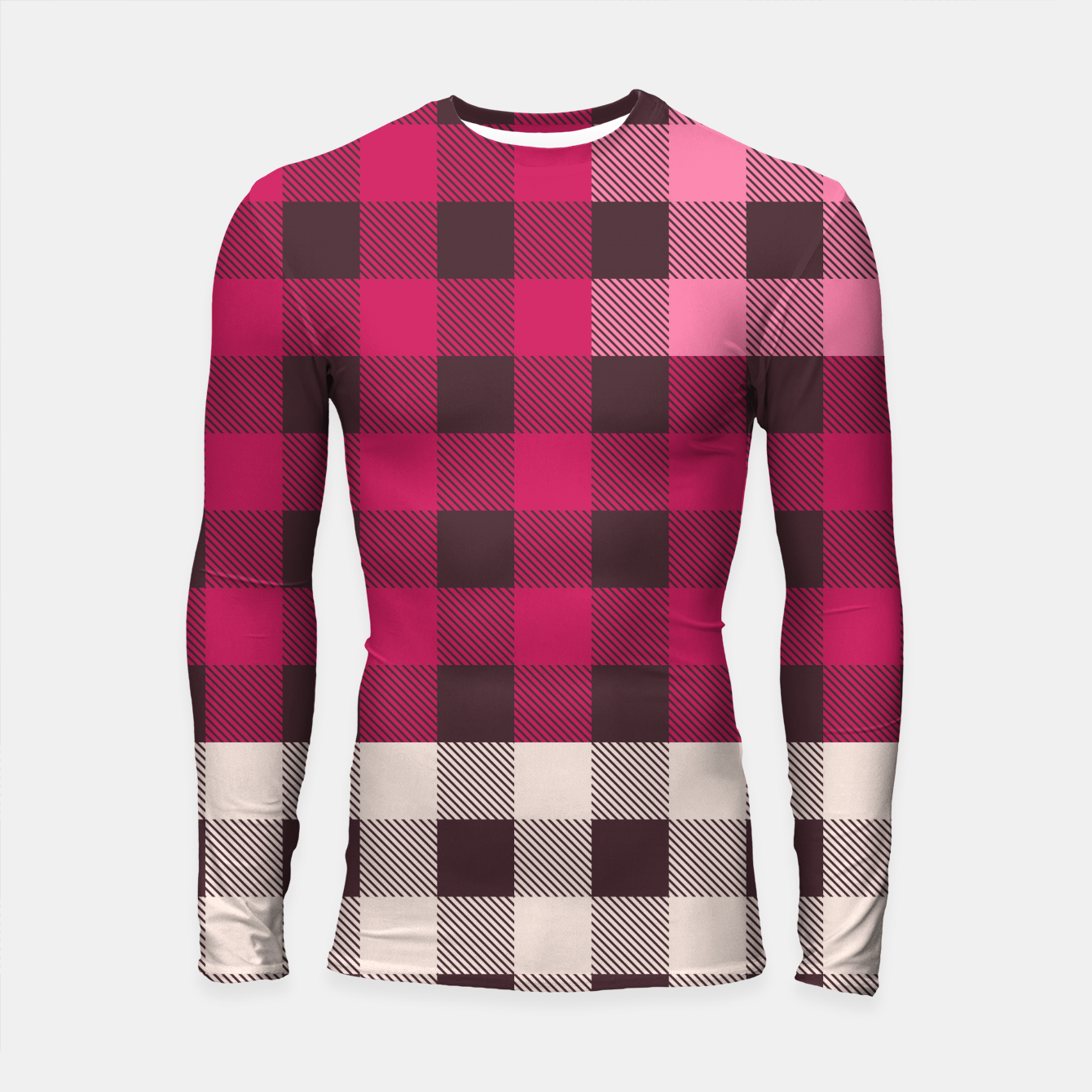 Image of PATCHWORK BUFFALO CHECK IN PINK Longsleeve rashguard  - Live Heroes