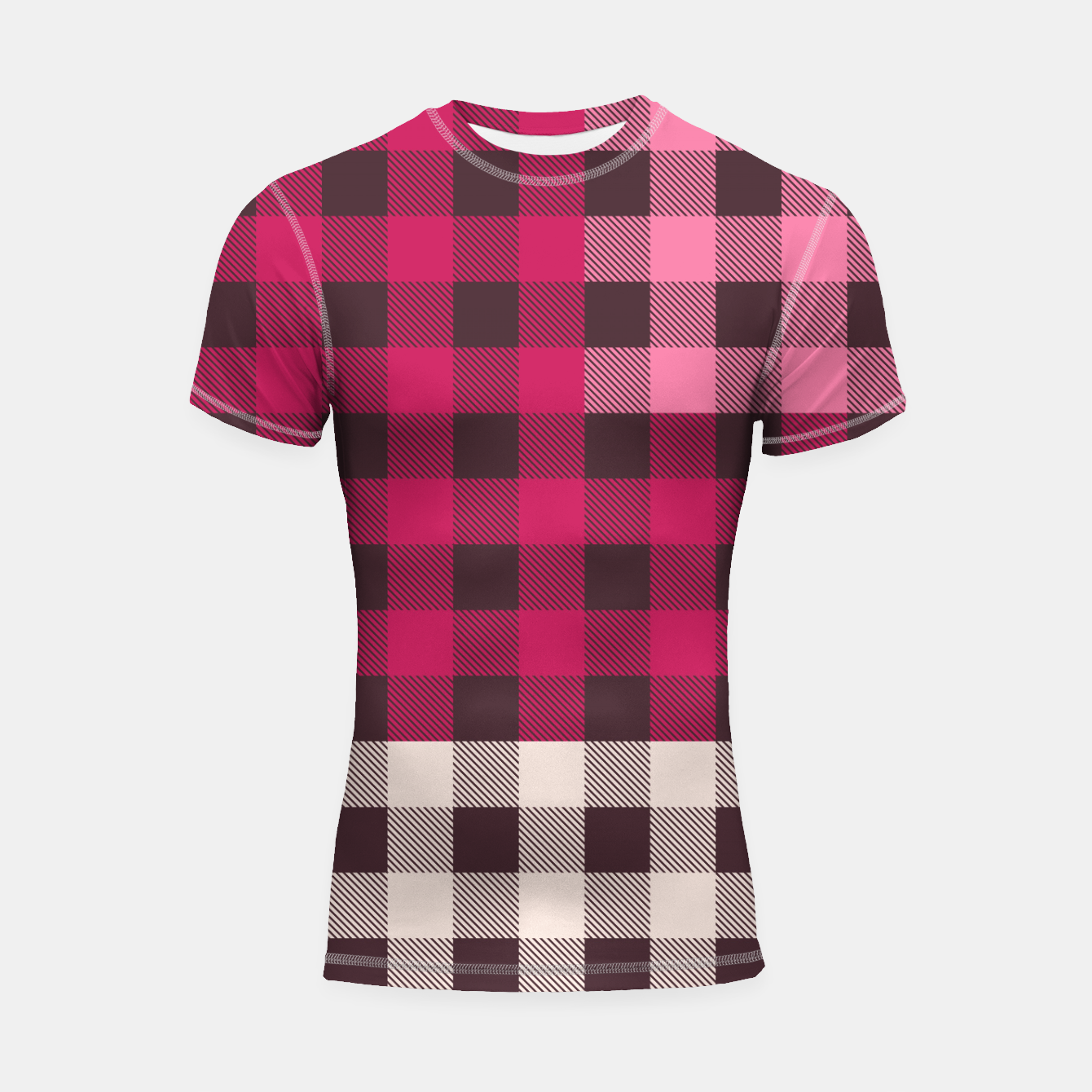 Image of PATCHWORK BUFFALO CHECK IN PINK Shortsleeve rashguard - Live Heroes