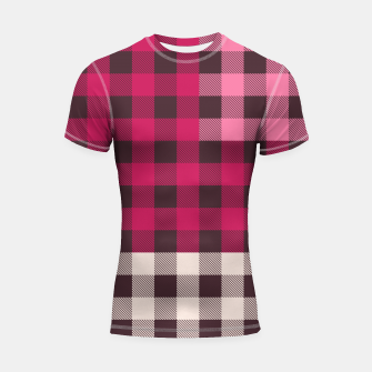 Thumbnail image of PATCHWORK BUFFALO CHECK IN PINK Shortsleeve rashguard, Live Heroes