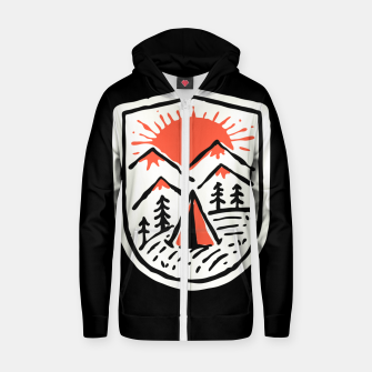 Thumbnail image of Sunset Camp Hand Drawn Zip up hoodie, Live Heroes