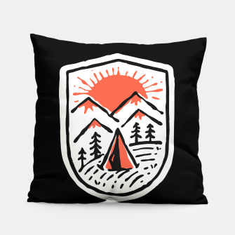 Thumbnail image of Sunset Camp Hand Drawn Pillow, Live Heroes