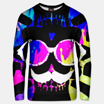 Imagen en miniatura de old vintage funny skull art portrait with painting abstract background in pink blue yellow green Unisex sweater, Live Heroes