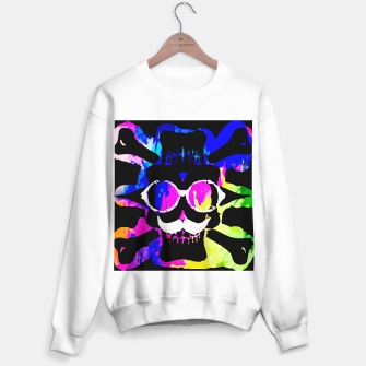 Thumbnail image of old vintage funny skull art portrait with painting abstract background in pink blue yellow green Sweater regular, Live Heroes
